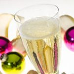 Champagne with Ornaments and Ribbon