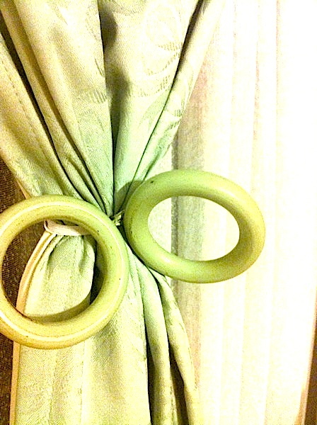 Finished! Funky curtain ties made out of curtain rings