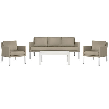 outdoor furniture - Caribbean 4 Piece Outdoor Package Stone White 1 - 9 outdoor essentials that will make your party awesome