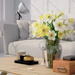 52879420 – beautiful bouquet of daffodil in a living room. 3d rendering